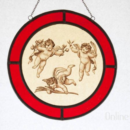 Vitraliu medalion Putti