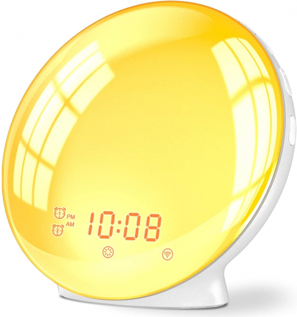 Radio FM cu ceas Onsag Alba, 7 culori LED, Wake-up light, simulare răsărit, 20 setări luminozitate, 7 sunete naturale, 3 sunete albe, port USB [2]