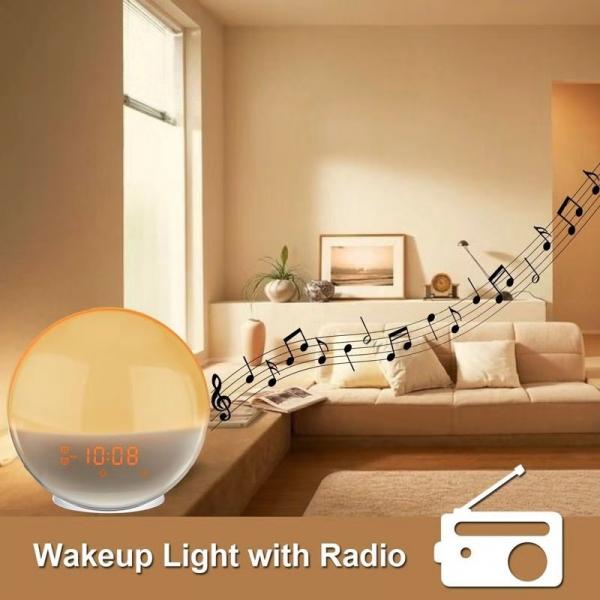 Radio FM cu ceas Onsag Alba, 7 culori LED, Wake-up light, simulare răsărit, 20 setări luminozitate, 7 sunete naturale, 3 sunete albe, port USB [5]