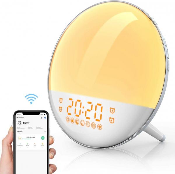 Radio FM cu ceas, Onsag Leon, 7 culori LED, Simulare răsărit, Smart Wake-up light, WiFi, App control, Sunete albe, port USB, Alexa/Google Home [0]