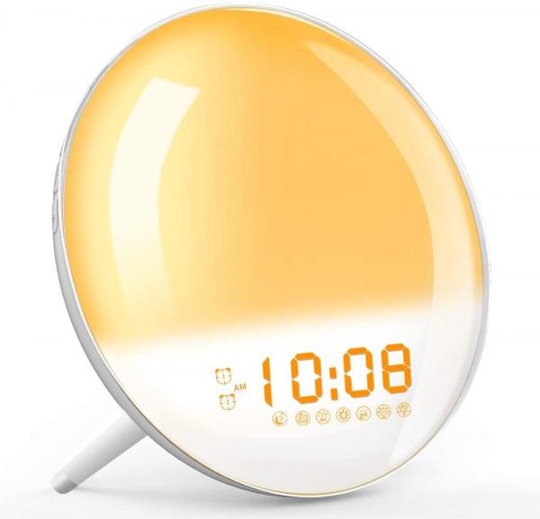 Radio FM cu ceas Onsag Roma, 7 culori LED, 7 sunete naturale, 3 sunete albe, Wake-up light, Simulare răsărit, 20 setări luminozitate, port USB [2]