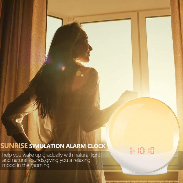 Radio FM cu ceas Onsag Alba, 7 culori LED, Wake-up light, simulare răsărit, 20 setări luminozitate, 7 sunete naturale, 3 sunete albe, port USB [7]