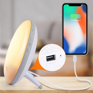 Radio FM cu ceas, Onsag Leon, 7 culori LED, Simulare răsărit, Smart Wake-up light, WiFi, App control, Sunete albe, port USB, Alexa/Google Home [5]