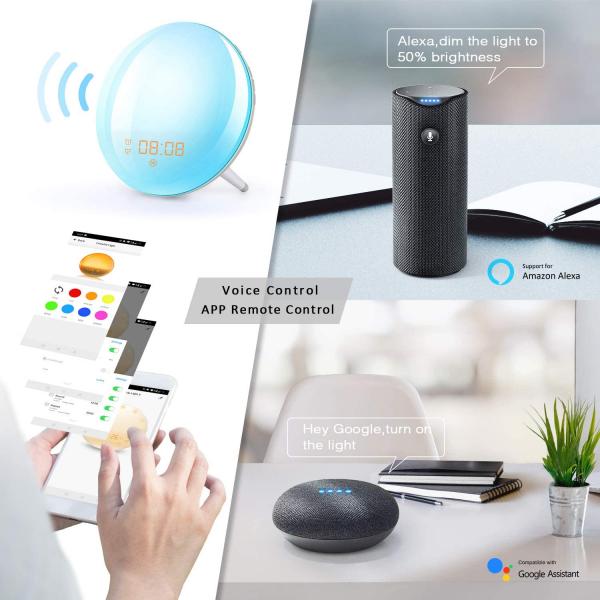 Radio FM cu ceas, Onsag Leon, 7 culori LED, Simulare răsărit, Smart Wake-up light, WiFi, App control, Sunete albe, port USB, Alexa/Google Home [6]