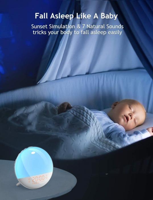 Radio FM cu ceas, Onsag Leon, 7 culori LED, Simulare răsărit, Smart Wake-up light, WiFi, App control, Sunete albe, port USB, Alexa/Google Home [8]