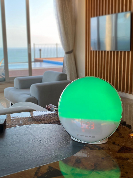 Radio FM cu ceas, Onsag Rio, 7 culori LED, Smart Wake-up light, WiFi, App control, Simulare rasarit, Sunete albe, port USB, Alexa/Google Home [3]