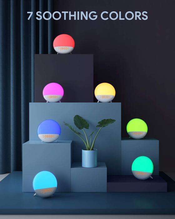 Radio FM cu ceas Onsag Roma, 7 culori LED, 7 sunete naturale, 3 sunete albe, Wake-up light, Simulare răsărit, 20 setări luminozitate, port USB [8]