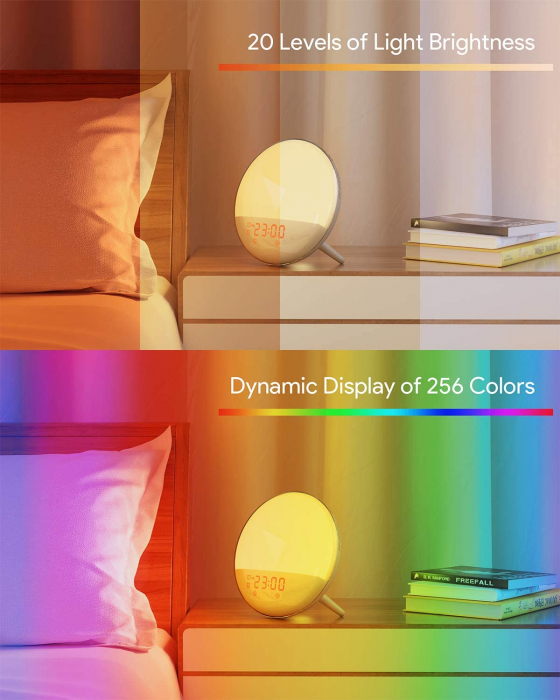 Radio FM cu ceas Onsag Roma, 7 culori LED, 7 sunete naturale, 3 sunete albe, Wake-up light, Simulare răsărit, 20 setări luminozitate, port USB [10]