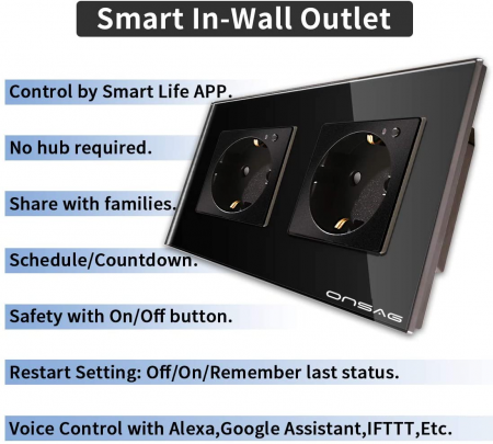 Priza Smart WiFi dubla Onsag X302 Black [5]