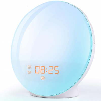 Radio FM cu ceas Onsag Alba, 7 culori LED, Wake-up light, simulare răsărit, 20 setări luminozitate, 7 sunete naturale, 3 sunete albe, port USB [0]