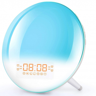 Radio FM cu ceas Onsag Roma, 7 culori LED, 7 sunete naturale, 3 sunete albe, Wake-up light, Simulare răsărit, 20 setări luminozitate, port USB [0]