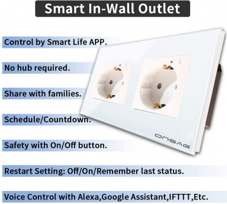 Priza Smart WiFi dubla Onsag X302 White [4]