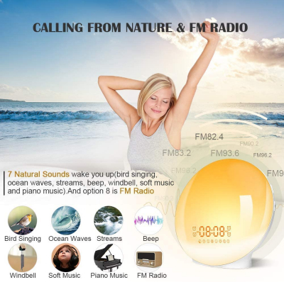 Radio FM cu ceas Onsag Alba, 7 culori LED, Wake-up light, simulare răsărit, 20 setări luminozitate, 7 sunete naturale, 3 sunete albe, port USB [6]