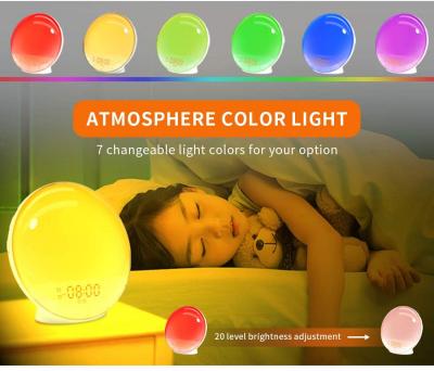 Radio FM cu ceas Onsag Alba, 7 culori LED, Wake-up light, simulare răsărit, 20 setări luminozitate, 7 sunete naturale, 3 sunete albe, port USB [8]