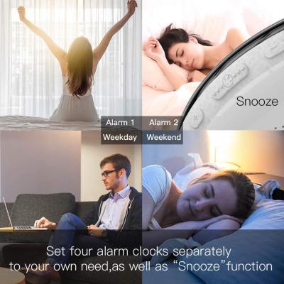 Radio FM cu ceas, Onsag Leon, 7 culori LED, Simulare răsărit, Smart Wake-up light, WiFi, App control, Sunete albe, port USB, Alexa/Google Home [9]