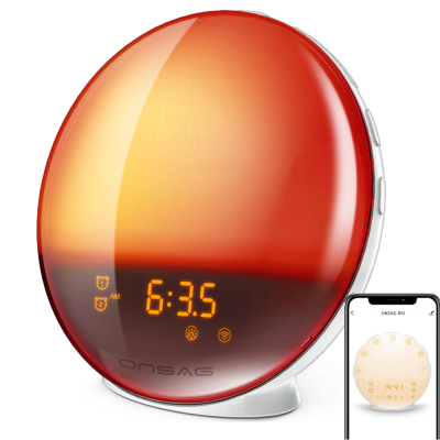 Radio FM cu ceas, Onsag Rio, 7 culori LED, Smart Wake-up light, WiFi, App control, Simulare rasarit, Sunete albe, port USB, Alexa/Google Home [0]