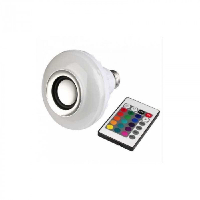Bec bluetooth LED cu boxa, jocuri de lumini si telecomanda 1