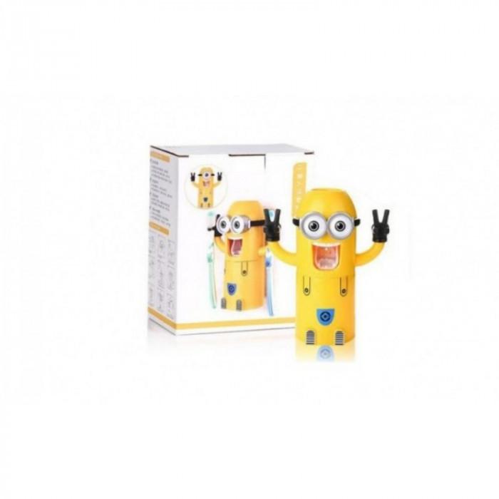 Dozator pasta de dinti cu suport pentru 2 periute, model Minions 1