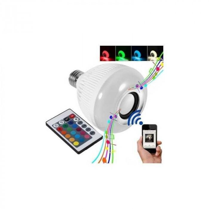 Bec bluetooth LED cu boxa, jocuri de lumini si telecomanda 0