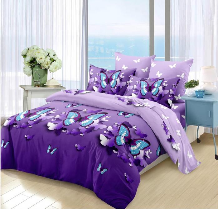 Lenjerie de pat 6 piese cu ELASTIC Violeta 0