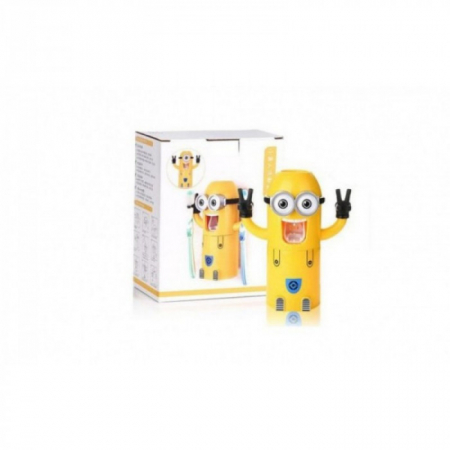 Dozator pasta de dinti cu suport pentru 2 periute, model Minions1