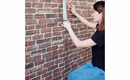 Tapet autoadeziv caramizi maro, 77 x 70 cm, spuma moale 3D1