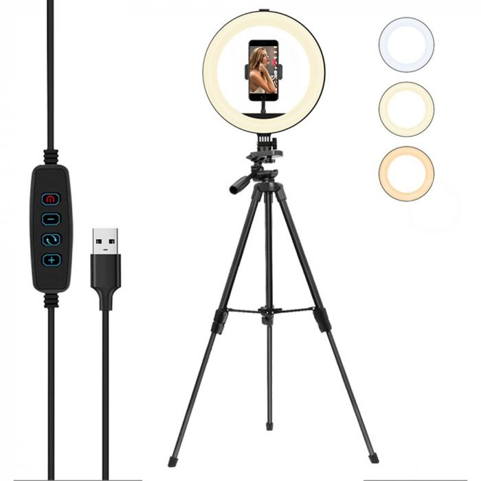 Set selfie ring 10 inch, trepied telescopic 120cm, suport telefon [0]