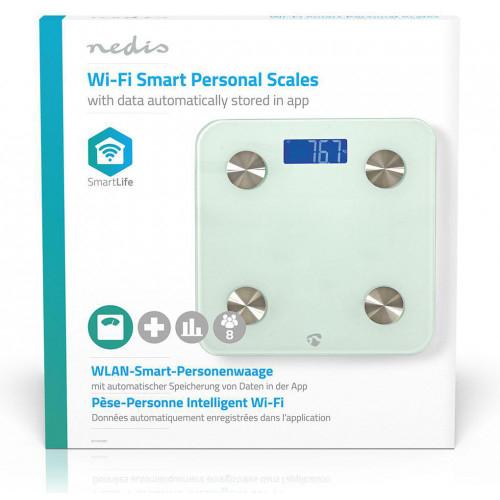 NEDIS WIFIHS10WT inteligent Wi-Fi-s cântare personale BMI Grăsime corporală Apă Oase Muşchi Proteină Securizat sticlă 8 utilizator [5]