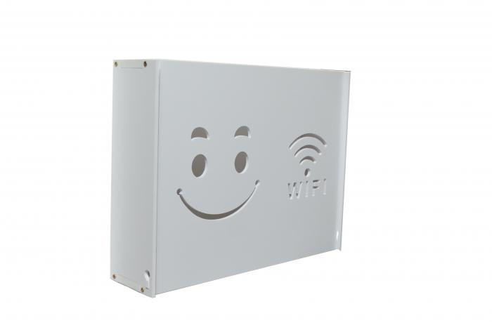Suport Router Wireless Smile 36x28x9 cm, alb, pentru mascare fire si echipament WI-FI, posibilitate montare pe perete [0]