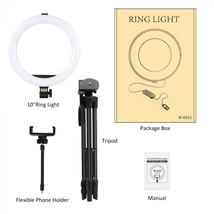 Set selfie ring 10 inch, trepied telescopic 120cm, suport telefon [4]