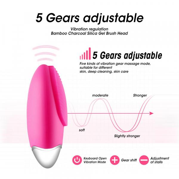 Aparat multifunctional masaj, curatare faciala Optimus AT Skin™  JMY003 cu ioni negativi, din silicon, rezistent la apa, pink [3]