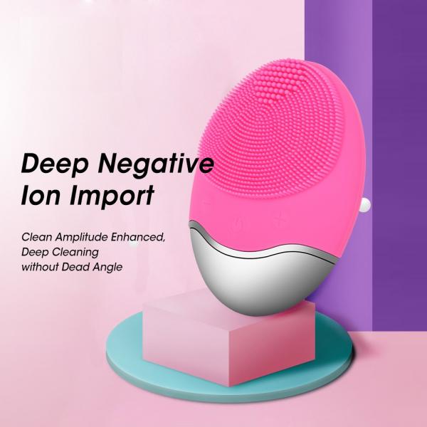 Aparat multifunctional masaj, curatare faciala Optimus AT Skin™  JMY003 cu ioni negativi, din silicon, rezistent la apa, pink [4]