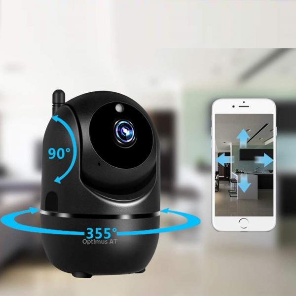 Camera supraveghere interior IP WIFI Optimus AT 288-2 fullHD 1920*1080P 2 mp comunicare bidirectionala, functie de autourmarire subiect, night vision, aplicatie telefon, negru [1]
