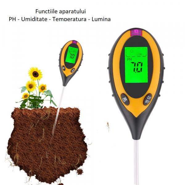Aparat multifunctional testare PH, umiditate, temperatura pamant, luminozitate Optimus AT 89 sol [2]