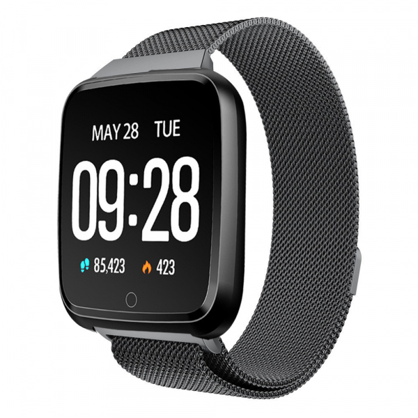 Bratara fitness curea metalica Optimus AT 7 ecran color, smartwatch, pedometru, puls, notificari, black [0]