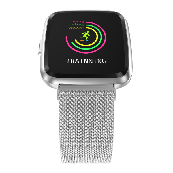 Bratara fitness curea metalica Optimus AT 7 ecran color, smartwatch, pedometru, puls, notificari, silver [3]
