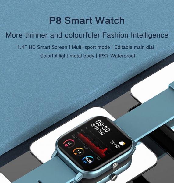 Ceas inteligent (smartwatch) Optimus AT P8 ecran cu touch 1.4 inch color HD, moduri sport, pedometru, puls, notificari, blue [2]