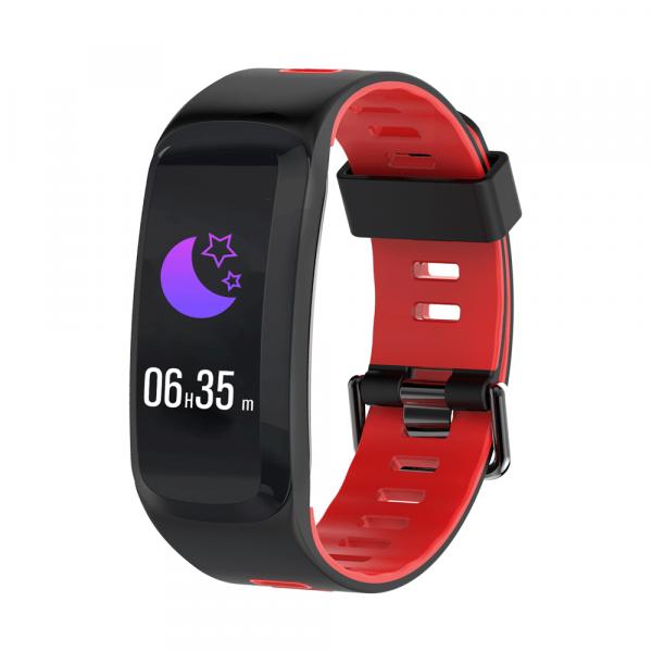 Bratara fitness sport ultra usoara Optimus AT 44 IP68, puls, tensiune, pedometru, notificari, calorii, distanta, moduri sport, black/red [0]