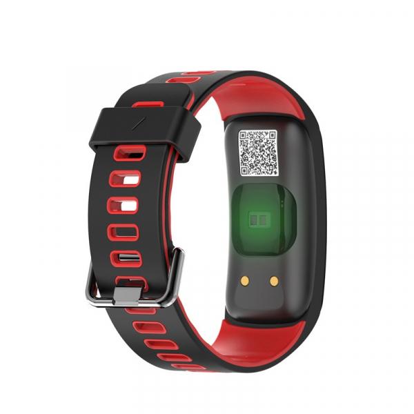 Bratara fitness sport ultra usoara Optimus AT 44 IP68, puls, tensiune, pedometru, notificari, calorii, distanta, moduri sport, black/red [1]