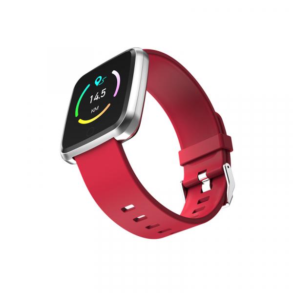 Bratara fitness Optimus AT 7 ecran color 1,3 inch, smartwatch,  tensiune, puls, notificari, IP 67, pedometru, calorii, distanta, moduri sport, red [1]