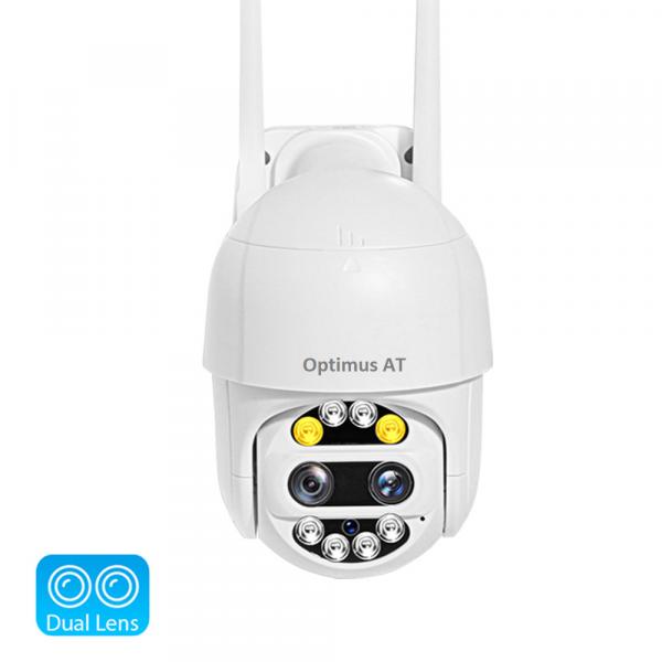 Camera supraveghere interior / exterior cu 2 lentile Optimus AT 9128-2 fullHD 2 mp comunicare bidirectionala, vedere noctura, aplicatie telefon [1]