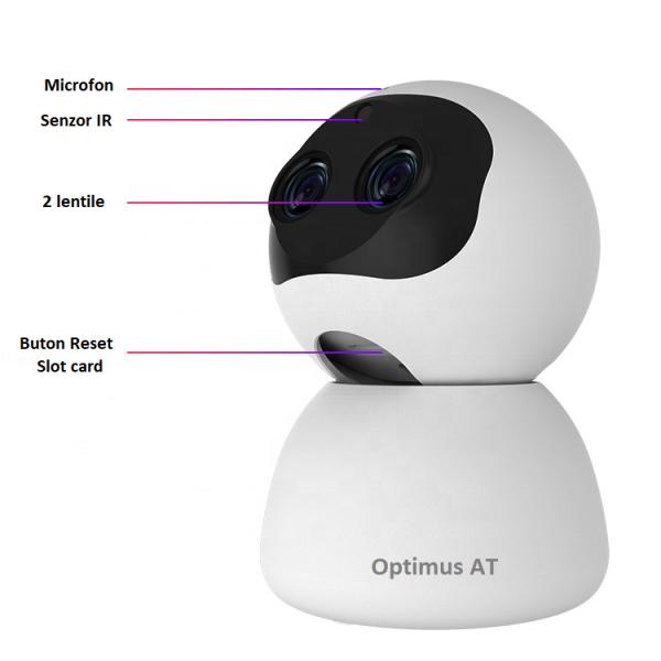 Camera supraveghere interior IP WIFI cu 2 lentile Optimus AT 3612, full HD, 3.6mm 8mm, autourmarire, comunicare bidirecionala [5]