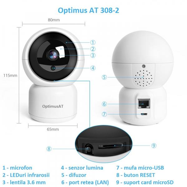 Camera supraveghere interior IP WIFI/LAN Optimus AT 308-2 fullHD 1920*1080P 2 mp comunicare bidirectionala, functie de auto urmarire subiect, night vision, aplicatie telefon [7]