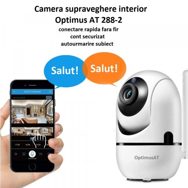 Camera supraveghere interior IP WIFI Optimus AT 288-2 fullHD 1920*1080P 2 mp comunicare bidirectionala, functie de auto urmarire subiect, night vision, aplicatie telefon [8]