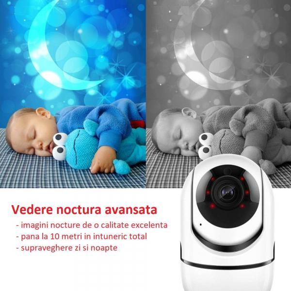 Camera supraveghere interior IP WIFI Optimus AT 288-2 fullHD 1920*1080P 2 mp comunicare bidirectionala, functie de auto urmarire subiect, night vision, aplicatie telefon [4]