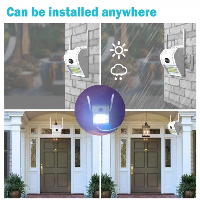 Lampa de perete cu camera de supraveghere IP WIFI Optimus AT D2-R fullHD 1920*1080P 2 mp, night vision, aplicatie telefon, alb [3]