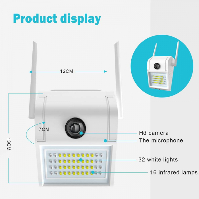 Lampa de perete cu camera de supraveghere IP WIFI Optimus AT D2-R fullHD 1920*1080P 2 mp, night vision, aplicatie telefon, alb [4]