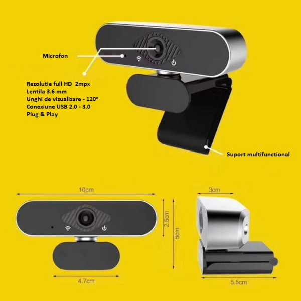 Camera WEB cu microfon Optimus AT DZ-001, rezolutie full-HD, 2mpx, rotire 360, prinderi multiple, negru/gri [3]