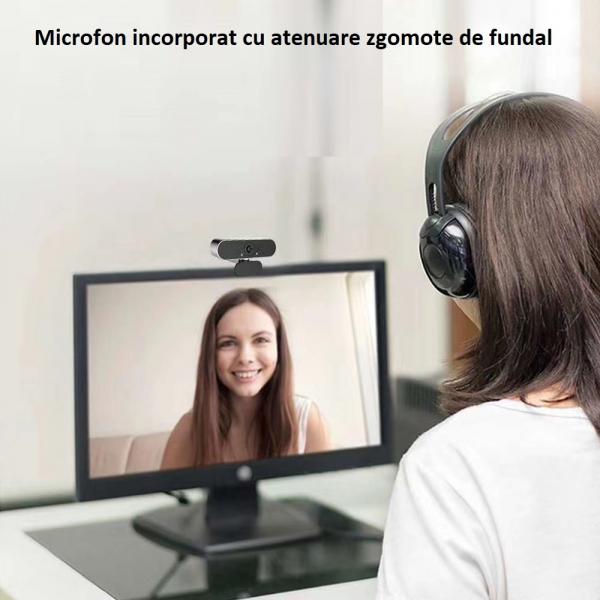 Camera WEB cu microfon Optimus AT C1, rezolutie full-HD 1080p, 2mpx, prinderi multiple, negru [3]
