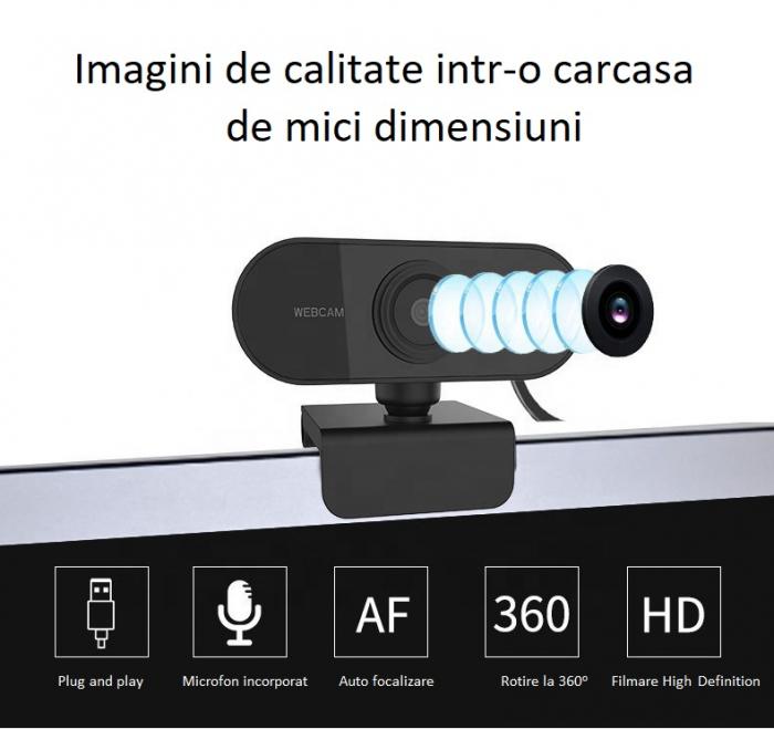 Camera WEB cu microfon Optimus AT C1, rezolutie full-HD 1080p, 2mpx, prinderi multiple, negru [5]